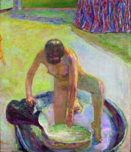 Akt mit Badezuber, 1918 Nu accroupi au tub Öl auf Leinwand, 85×74 cm  Musée d'Orsay, Paris. Donation Zeïneb et Jean-Pierre Marcie-Rivière, 2010 © Musée d'Orsay/RMN