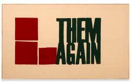 Walter Dahn: Die schon wieder!, 2014. Siebdruck und Gouache auf Textil, 80 x 135 cm; Copyright Walter Dahn, Sprüh Magers