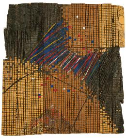 El Anatsui: Earth-Moon Connexions, 1993. Wood, Tempera, 35.4 x 33.2 x 1.2 inches; Collection of the Smithsonian National Museum of African Art, Washington, DC