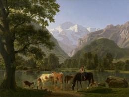 Johann Jakob Biedermann: Blick von Interlaken gegen die Jungfrau, 1819. Öl auf Leinwand, 61.5 x 81 cm; Kunstmuseum Luzern, Depositum der Best Art Collection Luzern