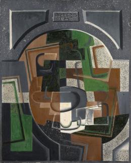 Juan Gris: Stillleben mit Schrifttafel, 1917 (Dezember). Öl auf Leinwand, 81 x 65.5 cm; Kunstmuseum Basel- Schenkung Dr. h.c. Raoul La Roche
