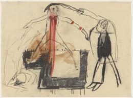 Leiko Ikemura: Ohne Titel, 1986. Kohle, Bleistift und Farbstift auf Papier, 29.9 x 39.9 cm; Kunstmuseum Basel / © Pro Litteris, Zurich 2019