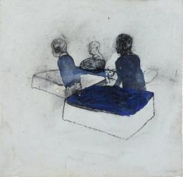 Friedrich Einhoff: Figurengruppe, 1994. Acryl, Kohle und Erde auf Leinwand, 520 x 530 mm; Hamburger Kunsthalle, Kupferstichkabinett / bpk © LEVY Galerie. Foto: Dirk Masbaum