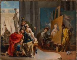 Giovanni Battista Tiepolo, Apelles und Campaspe, um 1725/30, Öl auf Leinwand, 57,4 x 84,2 cm, The Montreal Museum of Fine Arts, Adaline Van Horne Bequest, © Photo MMFA, Christine Guest