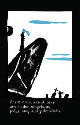 Elfriede Jelinek/Nicolas Mahler, Der fremde! störenfried der ruhe eines sommerabends der ruhe eines friedhofs, 2018 © Jelinek/Mahler, Carlsenverlag