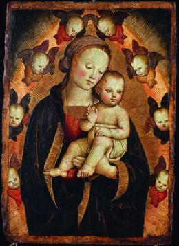 Madonna mit Kind und Seraphim, Werkstatt von Pietro Perugino, um 1500, Arp Museum Bahnhof Rolandseck/ Sammlung Rau für Unicef, Foto: Mick Vincenz
