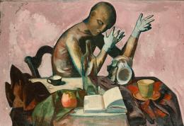 Wilhelm Lachnit: Gliederpuppe, 1948. Öl und Tempera auf Sperrholz, 75,0 x 110,0 cm; Staatliche Museen zu Berlin, Nationalgalerie. © Erbengemeinschaft Wilhelm Lachnit, Foto: bpk / Nationalgalerie