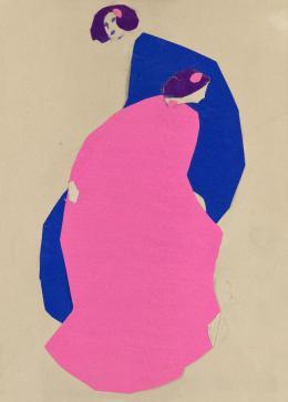 Emil Pirchan: Zwei Damen in pink und blau, München ca. 1912. Collage; © Sammlung Steffan / Pabst. Foto: Sammlung Steffan / Pabst