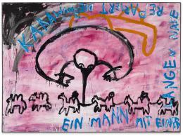 Walter Dahn: Ein Mann mit einer langen Nase repariert die Karawane, 1981. Dispersion auf Nessel, 160 x 220 cm; Copyright Walter Dahn, Sprüh Magers
