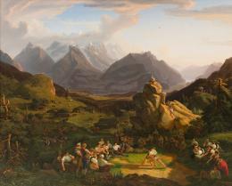 Jakob Christoph Miville: Schwingfest auf der Balisalp, 1822–24. Öl auf Leinwand, 191 ×239 cm; Privatsammlung Schweiz