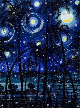 Claude Sandoz: Out of a Paradise, Fishermen Dreaming II, St. Lucia, 2000. Aquarell und Gouache auf Papier, 327 x 180 cm; Kunstmuseum Luzern, Schenkung des Künstlers. Fotograf: Robert Baumann