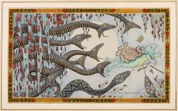 Carl Strathmann: Froschkönig auf der Flucht, um 1910. Aquarell und Tusche; © Münchner Stadtmuseum
