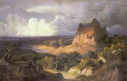 Gottfried Keller: «Heroische Landschaft», München 1842. Öl auf Leinwand; Zentralbibliothek Zürich, Graphische Sammlung und Fotoarchiv, GKN 68