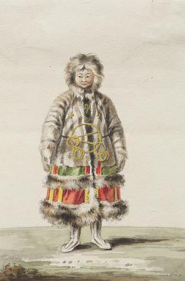 Emel'jan Korneev, Nenze in Festtagstracht, 1802, Aquarell, Tusche, Münchner Stadtmuseum, Von Parish Kostümbibliothek © Münchner Stadtmuseum