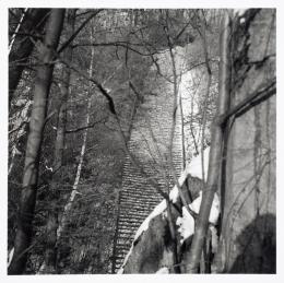 """""""Todesstiege"""" zum Steinbruch Wiener Graben des KZ Mauthausen, 1970-75 / """"Stairs of Death"""" in the Wiener Graben quarry s/w Fotografie / b/w photo Photo © mumok Museum moderner Kunst Stiftung Ludwig Wien, Schenkung / donation from Michael Merighi"""