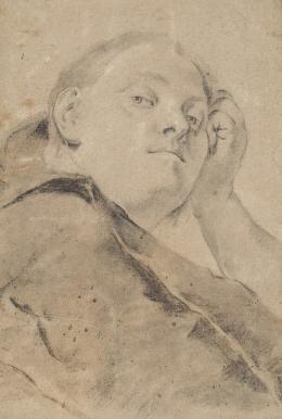 """Giovanni Battista Piazzetta, """"Junge Frau, in skeptischer Betrachtung"""", Schwarze Kreide, weiß gehöht (Kreide), auf Papier © Tiroler Landesmuseen"""