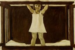 Albin Egger-Lienz, Die Tochter des Künstlers Ila im Kinderbettchen, 1916; 86,5 x 133 cm, Öl auf Leinwand  © Leopold Privatsammlung