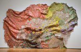 El Anatsui: Stressed World, 2011. Aluminum and copper wire; 174 x 234 inches. © El Anatsui; Courtesy of the artist and Jack Shainman Gallery, New York