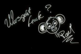 Christian Jankowski: WAS GEHT LEUTE?, 2014. Neonröhren, Transformator, 160 x 260 cm; Dauerleihgabe aus Privatbesitz, © Christian Jankowski. Foto: Marek Kruszewski