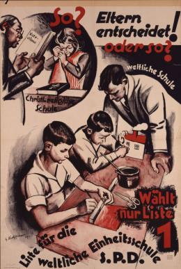 Plakat der SPD; Entwurf G. Kretzschmar, Leipzig, 1924/29. © DHM