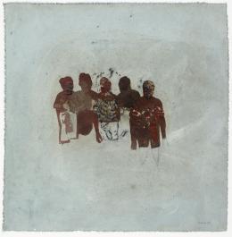Friedrich Einhoff: Figurengruppe 94, 1994. Acryl, Erde und Kohle auf Leinwand, 540 x 520 mm; Hamburger Kunsthalle, Kupferstichkabinett / bpk © LEVY Galerie. Foto: Dirk Masbaum