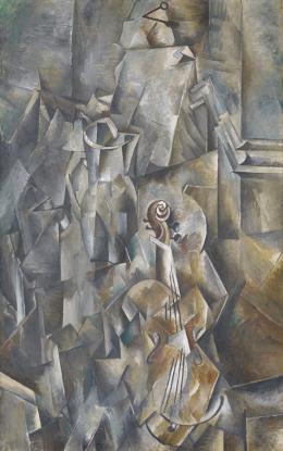 Georges Braque: Krug und Violine, 1909/1910. Öl auf Leinwand, 116.8 x 73.2 cm; Kunstmuseum Basel – Schenkung Dr. h.c. Raoul La Roche