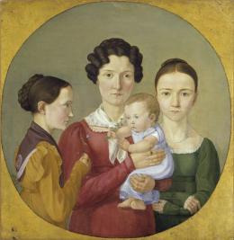 Erwin Speckter (1806–1835): Die Schwestern Malvine, Hermine, Adelheid und Ida Speckter, 1825. Öl auf Leinwand, 38 x 37,7 cm; © Hamburger Kunsthalle / bpk Foto: Elke Walford