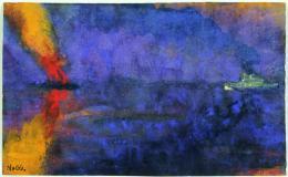 Emil Nolde: Kriegsschiff und brennender Dampfer, o. D. (vor/um 1943). Aquarell, 14,8 × 24,4 cm; Nolde Stiftung Seebüll. © Nolde Stiftung Seebüll, Foto: Dirk Dunkelberg, Berlin