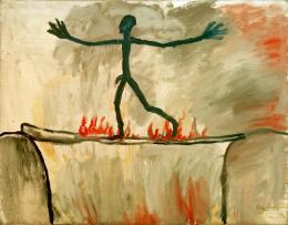 A.R. Penck: Der Übergang, 1963. Öl auf Leinwand, 94 × 120 cm; Ludwig Forum für Internationale Kunst, Aachen, Leihgabe Peter und Irene Ludwig Stiftung. © A.R. Penck / VG Bild-Kunst Bonn, 2019. Foto: akg-images
