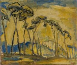 Ludwig Waldschmidt, Landschaft mit Kiefern, 1927,             Öl auf Leinwand, 66 x 76cm, Gemäldesammlung mpk,              Foto: Gunther Balzer © mpk