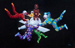 Ata Ndele Mokili (Tôt ou tard le monde changera). Monsengo Shula, 2014, Acryl und Pailletten auf Leinwand, 130 x 200 cm. Sammlung Henri und Farida Seydoux