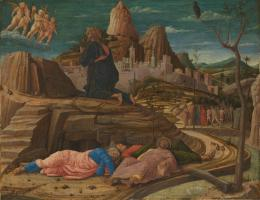 Andrea Mantegna: Christus am Ölberg, um 1458-60. Holz, 62,9 x 80 cm, erworben 1894; © The National Gallery, London