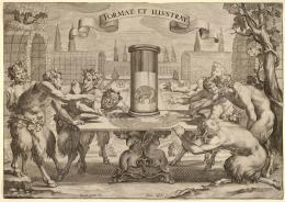 Hans Tröschel nach Sime Vouet Satyrn, eine Spiegelanamorphose bewundernd, 1610–1628 Kupferstich 24,3 x 34 cm © Kunstsammlungen, Archiv und Bibliothek Stift Göttweig