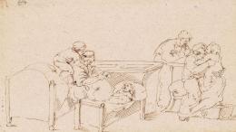 Clara Reinhard: Ohne Titel (Kinderpflege), um 1820. Braune Tusche auf Papier, 20 x 35.3 cm; Kunstmuseum Luzern