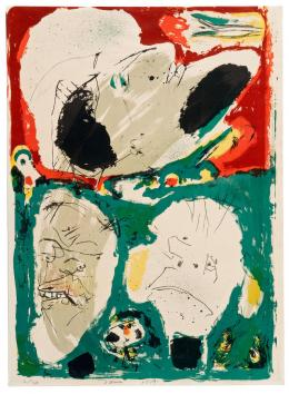 Asger Jorn: Portrait de Trois Imprimeurs, 1955 (Porträt von drei Druckern). Farblithografie; Museum Jorn, Silkeborg. © Donation Jorn, Silkeborg / Bildrecht, Wien, 2019