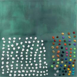 Jack Whitten: One Hundred Ninety Pieces of Color: For Ellsworth Kelly #2, 2016. Acryl auf Leinwand, 122 x 122 cm; Privatbesitz. © Jack Whitten, courtesy Zeno X Gallery, Antwerp. Photo: John Berens