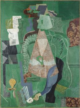 Pablo Picasso: Mädchenbildnis, 1914. Öl auf Leinwand 130 x 96,5 cm; Centre Pompidou, Musée national d'art moderne, Paris, legs de George Salles, 1967. © Centre Pompidou, Mnam - CCI/Jean Claude Planchet/Dist. RMN-GP © Succession Picasso / 2019, Pro Litteris, Zurich