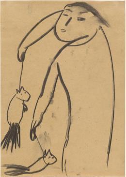 Leiko Ikemura: Die Kastrierten, 1982. Kohle auf Papier, 32 x 24 cm; Kunstmuseum Basel / © Pro Litteris, Zurich 2019. Photo: Martin P. Bühler