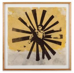 Walter Dahn: Anne Frank wehrt sich III, 2003. Acryl, Tempera und Siebdruck auf Textil, Holzrahmen, 36 x 36 cm; Copyright Walter Dahn, Sprüh Magers