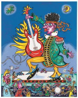 Helmut King, Jimmy Hendrix Burning Guitare, 150 x 120cm © Günter König