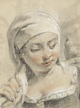 """Giovanni Battista Piazzetta, """"Bildnis einer Trägerin"""", Trois crayons auf Papier © Tiroler Landesmuseen"""