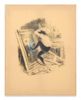 Walter Dahn: »Auf Wiedersehen« (mit Zusatz von Béla Janssen) #2, 2014. Siebdruck und Gouache, Ölkreide auf Textil, Holzrahmen, 90 x 70 cm; Copyright Walter Dahn, Sprüh Magers