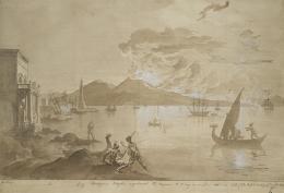 Emel'jan Korneev, Ausbruch des Vesuvs am 12. August 1805, 1805, Feder, Pinsel, Sepiatusche © Münchner Stadtmuseum