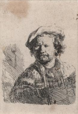 """Rembrandt Harmensz. van Rijn, """"Selbstbildnis mit flacher Mütze und besticktem Kleid"""", um 1642, Radierung © Tiroler Landesmuseen"""