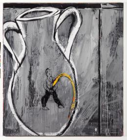 Walter Dahn: Untitled (Vase), 1982. Acryl auf Leinwand, 225 x 210 cm; Copyright Walter Dahn, Sprüh Magers
