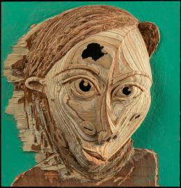 La demoiselle Pende 2 (Detail). Aimé Mpane, 2013, Acryl und Mixed media auf Holz, 32 x 30 x 8, © der Künstler und Nomad Gallery