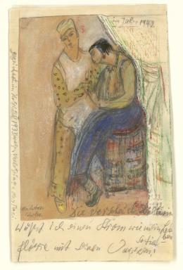 "Else Lasker-Schüler, ""Die verscheuchte Dichterin"", um 1935 – 1942/43 Bleistift, Kreiden auf Papier Else Lasker-Schüler Archive, The National Library of Israel"