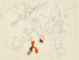 No title, 1962 Collage, crayon and graphite on paper 9 ⅜ × 12 ¹∕₁₆ in., 23.8 × 30.6 cm Allen Memorial Art Museum, Oberlin College, Oberlin, OH. Gift of Helen Hesse Charash, 1982.102.25 © The Estate of Eva Hesse. Courtesy Hauser & Wirth