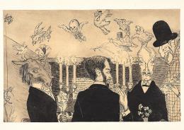 Jacques Ernst Sonderegger: Gespensteressen, undatiert. Feder und Bleistift auf Papier auf Papier, 11.9 x 18.6 cm; Privatbesitz. Depositum im Zentrum Paul Klee, Bern