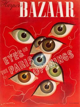 """Adolphe Mouron Cassandre, """"Eyes on the Paris Openings"""", Cover für Harper's Bazaar, 1939, Museum für Gestaltung Zürich, Grafiksammlung, © Roland Mouron"""